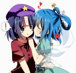 2girls beret blue_eyes blush blush_stickers cheek_kiss closed_eyes emyu eyes_closed fujishiro_emyu hair_rings hair_stick hat heart kaku_seiga kiss miyako_yoshika multiple_girls ofuda shawl short_hair touhou