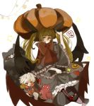 blazblue blonde_hair boots candy character_doll fork frills gii gothic_lolita heel-less_shoes lolita_fashion lollipop nago pumpkin purintowswsp rachel_alucard ragna_the_bloodedge red_eyes solo twintails