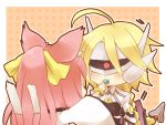 :t ahoge animal_ears blazblue bow braid candy cat_ears cat_tail chibi glasses hair_bow kokonoe lambda-11 lollipop multiple_girls multiple_tails ponytail purple_hair robot_ears single_braid single_eye tail visor yuya_(artist)