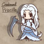 barefoot chibi crossbreed_priscilla dark_souls fur fushigi_ebi horns long_hair priscilla_the_crossbreed scythe solo tail weapon white_hair