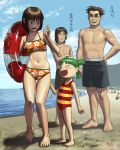 2girls age_difference ayase_fuuka barefoot beach bikini child feet float innertube jumbo koiwai_yotsuba matataku mr_koiwai multiple_boys multiple_girls one-piece_swimsuit sea size_difference swimsuit toes translated yotsubato!