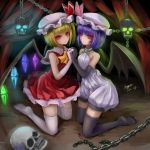 absurdres adapted_costume ascot bare_shoulders bat_wings black_gloves black_legwear blonde_hair brooch dress elbow_gloves flandre_scarlet gloves glowing glowing_eyes hand_holding hat highres holding_hands jewelry kneeling light_smile multiple_girls myero purple_hair red_eyes remilia_scarlet short_hair siblings sisters skull sleeveless symmetry thigh-highs thighhighs touhou white_gloves white_legwear wings zettai_ryouiki