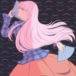 1girl expressionless fan folding_fan hata_no_kokoro long_hair looking_at_viewer looking_back mefomefo pink_eyes pink_hair plaid plaid_shirt shirt skirt touhou