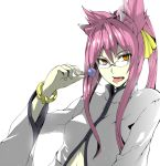 animal_ears bangle blazblue bow bracelet candy cat_ears catgirl coat fang female glasses hair_bow hair_ribbon jewelry kokonoe lollipop long_hair navel_cutout open_mouth orange_eyes payot pince-nez pink_hair ponytail ribbon simple_background solo tongue tongue_out wide_sleeves yellow_eyes yosimura