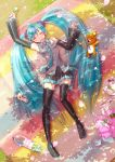 1girl ahoge aqua_hair boots closed_eyes dango detached_sleeves food hatsune_miku headset highres kagamine_rin long_hair lying mochi nail_polish necktie on_back open_mouth petals sakura_mochi skirt sleeping solo spring_onion stuffed_animal stuffed_toy teddy_bear thigh-highs thigh_boots tomato twintails umiheki very_long_hair vocaloid wagashi