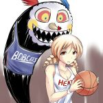 bare_shoulders basketball blonde_hair breasts bust charlotte_(madoka_magica) charlotte_bobcats cleavage clothes_writing clothing_writing drill_hair grin jersey mahou_shoujo_madoka_magica mami_mogu_mogu maullarmaullar miami_heat namesake national_basketball_association orange_eyes pun short_hair smile sweat tomoe_mami twin_drills twintails wristband yellow_eyes