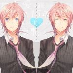 alternate_eye_color blue_eyes blush border dual_persona envelope heart letter long_sleeves love_letter male multiple_boys necktie nenchaku_kei_danshi_no_15_nen_nechinechi_(vocaloid) open_mouth parted_lips pink_hair sad shirt squinting striped striped_shirt surprised symmetry tears too_mizuguchi vocaloid vy2 wind