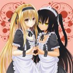 2girls apron black_hair blonde_hair blush frills frown hair_ribbon hairband heart heart_hands hosi-gaki konjiki_no_yami long_hair maid master_nemesis multiple_girls red_eyes ribbon short_sleeves smile to_love-ru to_love-ru_darkness two_side_up wrist_cuffs yellow_eyes