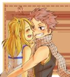 1girl blonde_hair blush closed_eyes couple english eyes_closed fairy_tail grin long_hair lucy_heartfilia natsu_dragneel open_mouth scarf short_hair side_ponytail sleeveless smile spiked_hair spiky_hair tadano_kandume