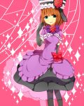 blue_eyes bow dress elbow_gloves eva_beatrice flower frills gloves grin hat juuroku_anna open_mouth orange_hair pantyhose red_rose ribbon rose smile solo sparkle umineko_no_naku_koro_ni