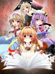 4girls alice_margatroid apron bell blonde_hair book bow braid capelet character_name crescent dress hair_bell hair_bow hair_ornament hat headband hiragana japanese_clothes jewelry kiki_(koikuchikinako) kimono kirisame_marisa long_hair looking_at_viewer mob_cap motoori_kosuzu multiple_girls open_book open_mouth outstretched_arm patchouli_knowledge puppet_strings purple_hair quill red_eyes redhead ribbon ring short_hair single_braid touhou violet_eyes witch_hat yellow_eyes