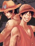 back-to-back brothers fire freckles grin hat manly monkey_d_luffy multiple_boys muscle one_piece portgas_d_ace scar shirtless siblings side_by_side sleeveless sleeveless_shirt smile straw_hat tsuyomaru wide-eyed wide_eyes
