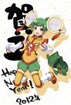 1girl axew benoyama chinese_clothes crossover detached_sleeves dragon_kid green_eyes green_hair hat huang_baoling new_year pokemon pokemon_(creature) pokemon_(game) pokemon_black_and_white pokemon_bw short_hair shorts superhero tiger_&_bunny