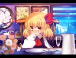 :< ascot blonde_hair blurry blush checkered cloud contemporary depth_of_field dish dress finger_to_mouth flat_gaze flower glass goriyaku hair_ribbon hungry jar letterboxed picture_(object) picture_frame pitcher plate red_eyes ribbon room rumia shirt short_hair sitting smile solo table the_embodiment_of_scarlet_devil touhou tree window yellow_eyes youkai