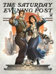 1girl alex_garner bioshock bioshock_infinite black_hair blue_eyes booker_dewitt brown_hair city elizabeth_(bioshock_infinite) english facial_hair gun handgun highres lips mauser_c96 necktie parody pinstripe_pattern pistol saturday_evening_post the_saturday_evening_post weapon