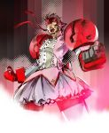 bow brown_hair bubble_skirt clenched_hands cosplay crossdressing d:< dress fighting_stance fusion gundam gundam_age gundam_age-1 gundam_age-1_titus hair_bow headband ikuyoan kaname_madoka kaname_madoka_(cosplay) magical_girl mahou_shoujo_madoka_magica male manly mecha_musume mechanical_arms mechanical_legs metal_gear metal_gear_solid parody pink short_twintails solid_snake solo twintails