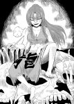 alternate_costume barefoot bone braid breasts cleavage clothes_writing clothing_writing comic dragon_girl ex-meiling hong_meiling kiseru long_hair midriff monochrome no_hat no_headwear pipe scales side_braid sitting skull smile smoking touhou translation_request twin_braids wasabi_shoujo wink