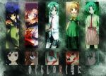 5girls blonde_hair blood dress furude_rika green green_hair higurashi_no_naku_koro_ni houjou_satoko long_hair maebara_keiichi multiple_girls necktie pantyhose purple_eyes ryuuguu_rena siblings smile sonozaki_mion sonozaki_shion twins violet_eyes