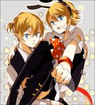 1girl amane_mio blonde_hair blue_eyes brother_and_sister holding kagamine_len kagamine_rin kemonomimi_mode looking_at_viewer open_mouth short_hair siblings skirt thigh-highs thighhighs twins vocaloid