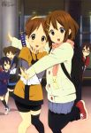 absurdres black_legwear blush brown_eyes brown_hair closed_eyes coat eyes_closed footwear glasses hair_ornament hairclip highres hirasawa_ui hirasawa_yui horiguchi_yukiko japanese_clothes k-on! k-on!_movie long_hair manabe_nodoka megami multiple_girls nakano_azusa official_art open_mouth pantyhose ponytail scarf school_uniform short_twintails siblings single_thighhigh sister sisters socks suzuki_jun sword thigh-highs thighhighs twintails weapon