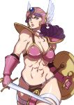 abs armor bikini_armor blue_eyes breasts choker cleavage collarbone curly_hair dragon_quest dragon_quest_iii gloves helmet highres large_breasts lift lips loincloth long_hair midriff naav navel pauldron pauldrons purple_hair shield simple_background soldier_(dq3) solo sword thigh_strap warrior weapon winged_helmet
