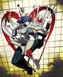1girl alex_ahad bandage bandages blood blue_hair body_bag breasts cleavage fighting_stance gloves hair_over_one_eye hat heart highres intravenous_drip large_breasts mask minidress nurse nurse_cap official_art red_eyes saw scalpel skullgirls solo stethoscope sword symbol-shaped_pupils syringe valentine_(skullgirls) weapon