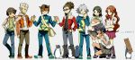 5boys bird blue_eyes blue_hair boots brother_and_sister brown_hair camcorder endou_mamoru fubuki_shirou glasses glasses_on_head goggles gouenji_shuuya grin hairlocs headband highres ichinose_kazuya inazuma_eleven inazuma_eleven_(series) jacket kidou_yuuto kino_aki long_hair multiple_boys multiple_girls nanjou_(sumeragimishiro) open_mouth otonashi_haruna pants penguin raimon_natsumi scarf school_uniform short_hair siblings skirt smile track_suit video_camera white_hair
