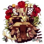 apron basket bread brown_hair carla_jaeger chair eren_jaeger flower food hiding houhou_(black_lack) kitchen mikasa_ackerman mother's_day mother_and_son rose shingeki_no_kyojin shushing table