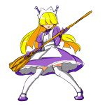 blonde_hair broom collar drawfag dress elbow_gloves gloves hair_over_eyes highres kneehighs long_hair maid maid_headdress purple_dress robot_ears solo sunsoft tesse waku_waku_7 white_legwear