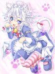 animal_ears blue_eyes cat_ears cat_tail izayoi_sakuya kemonomimi_mode mary_janes paw_pose shoes silver_hair solo striped striped_legwear tail thigh-highs thighhighs touhou yukinon