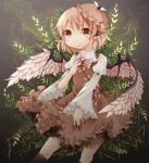 animal_ears brown_dress claws dress fingernails frilled_sleeves frills hand_on_own_chest kuran_(mkmrl) kyuuran leaf long_fingernails mystia_lorelei pink_hair short_hair solo touhou wings
