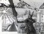 armor artist_request dark_souls dragon drake highres home_run horns knight monochrome sword tagme traditional_media weapon
