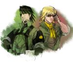 ascot bandana bandanna barnaby_brooks_jr big_boss big_boss_(cosplay) blonde_hair brown_eyes brown_hair camouflage cosplay eyepatch facial_hair glasses green_eyes ikuyoan kaburagi_t_kotetsu kazuhira_miller kazuhira_miller_(cosplay) look-alike male metal_gear metal_gear_solid_peace_walker military military_uniform multiple_boys short_hair stubble sunglasses tiger_&_bunny uniform