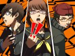 1girl 2boys adult all-out_attack bad_id baseball_cap brown_eyes brown_hair character_request clenched_fist clenched_hand cut-in doujima_nanako fake_screenshot glasses hat minami_yuuta minami_yuuto multiple_boys nakajima_shu open_mouth persona persona_4 school_uniform takayan teenage teeth twintails