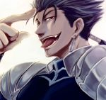 blue_hair close-up earrings fangs fate/stay_night fate_(series) jewelry lancer long_hair male pauldron pauldrons ponytail red_eyes solo tongue too_hiki