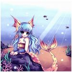 bare_shoulders blue_eyes blue_hair bracelet breasts bubble caustic_lighting cleavage coral fish fish_tail head_fins highres jewelry long_hair mermaid midna01 monster_girl nanami_(okami) nanami_(ookami) okami okamiden ookami_(game) ookamiden open_mouth sand smile solo stone underwater very_long_hair