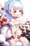 1girl :d bare_shoulders blush choker dress fur_trim gilse hair_ornament hat layered_dress open_mouth orange_eyes pointy_ears short_hair sitting smile snow solo v_arms white_hair wrist_cuffs