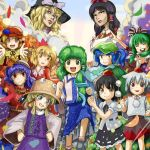 aki_minoriko aki_shizuha animal_ears ascot bag black_eyes black_hair blonde_hair blue_eyes blue_hair blush bow brown_eyes camera closed_eyes cloud curly_hair detached_sleeves dress frills frog_hair_ornament front_ponytail green_hair grey_hair hair_bobbles hair_bow hair_ornament hair_ribbon hair_tubes hakurei_reimu hands_on_hips hat hat_ribbon inubashiri_momiji kagiyama_hina kawashiro_nitori kirisame_marisa kochiya_sanae leaf leaf_on_head long_hair looking_at_viewer maku_(artist) moriya_suwako mountain_of_faith multiple_girls open_mouth orange_eyes outstretched_arms pointing pom_pom_(clothes) red_eyes ribbon shameimaru_aya shimenawa short_hair skirt smile smirk teeth tokin_hat touhou wide_sleeves witch_hat wolf_ears yasaka_kanako yellow_eyes