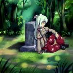 fujiwara_no_mokou grass grave hair_ribbon long_hair looking_down nature profile red_eyes ribbon sad shoes sitting stone sunlight suspenders tat_(artist) tears touhou