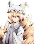 animal_ears brown_eyes brown_hair fox_ears fox_tail foxgirl hands_in_sleeves japanese_clothes kitsune multiple_tails smile solo tail takemori_shintarou touhou yakumo_ran yellow_eyes