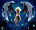 cross giratina graveyard moon night no_humans pokemon pokemon_(creature) solo stars wings