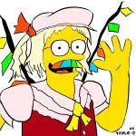 cosplay flandre_scarlet flandre_scarlet_(cosplay) mustache ned_flanders parody rainbow the_simpsons touhou triple-q