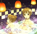 bath bathroom brown_eyes brown_hair bubble_bath bubble_blowing bunny cat dog double_bun drawing drawings fujino_iro kappa lights marker multiple_girls panda rabbit short_hair straw train