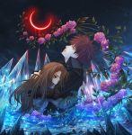 aqua_eyes bella_swan brown_hair crescent_moon edward_cullen flower hug ice long_hair looking_up night redhead rose spiky_hair the_twilight_saga water yellow_eyes