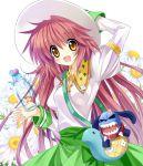flower hanato_kobato hat ioryogi jar kobato. long_hair open_mouth paco smile stuffed_animal stuffed_toy sunflower very_long_hair