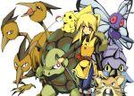 1girl butterfree dodrio fishing_rod golem_(pokemon) omastar pikachu poke_ball pokemon pokemon_(creature) pokemon_special raticate yellow_(pokemon)