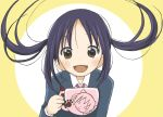 black_hair brown_eyes cup floating_hair itesu k-on! long_hair mug nakano_azusa open_mouth school_uniform smile solo teacup twintails