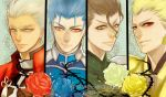 4boys archer black_hair blonde_hair blue_hair blue_rose brown_eyes earrings fate/stay_night fate/zero fate_(series) flower gilgamesh green_rose grey_eyes jewelry jun_(ash) lancer lancer_(fate/zero) mole multiple_boys red_eyes red_rose rose white_hair yellow_eyes yellow_rose