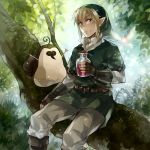blonde_hair blue_eyes bottle fairy gloves hat in_tree kikwi kome_(kokomoti) link machi male nature nintendo pointy_ears sitting skyward_sword smile the_legend_of_zelda tree