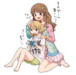 alternate_hairstyle bare_legs barefoot blonde_hair blush brown_eyes brown_hair clothes_writing clothing_writing collarbone dress futaba_anzu hair_down hair_ornament hifumi_(gureazi) idolmaster idolmaster_cinderella_girls jacket legs long_hair low_twintails moroboshi_kirari multiple_girls open_mouth petting playing_games playstation_portable shorts simple_background sitting size_difference star star_hair_ornament striped t-shirt translated twintails wariza white_background